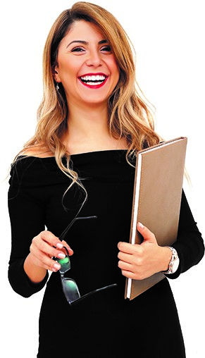 Smiling woman holding a notebook