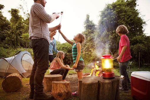 a family around a camp fire