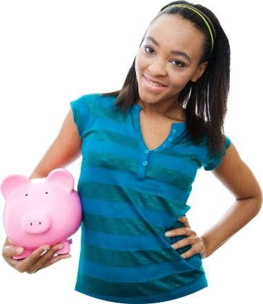 Teen with piggy bank